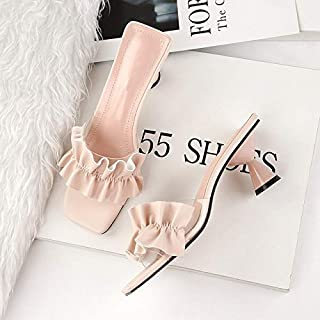 Summer Women Slippers High heels Sandals Ruffles Female Outside Slides Casual Vacation Beach shoes Elegant beautiful slippers (Color : Apricot, Shoe Size : 7.5)