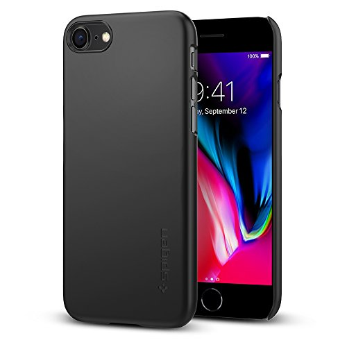 Spigen Thin Fit iPhone 8 / iPhone 7 Case with Premium SF Coated Non Slip Matte Finish Surface for Excellent Grip for Apple iPhone 8 (2017) / iPhone 7 (2016) - Black