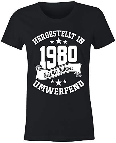 Preisvergleich Produktbild 6TN Damen Deutsche Sprache 1980 gemacht 40 Jahre des Seins fantastisches 40. Geburtstags-T-Shirt (XXL,  Schwarz)