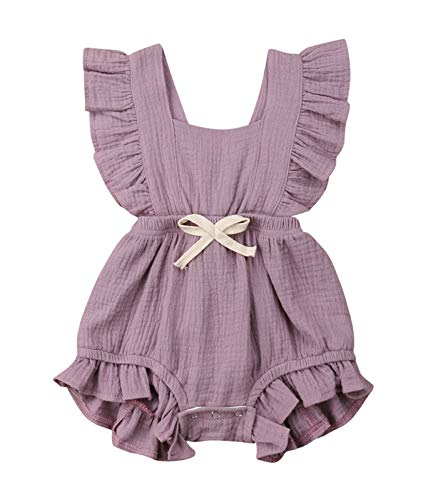Toddler Baby Girl Ruffled Rompers Sleeveless Cotton Romper Bodysuit Jumpsuit Clothes (18-24 Months, Purple)