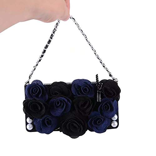 Case Portemonnee voor Iphone 11/11 Pro / 11 Pro Max met Lanyard Ketting Mooie Roos Lederen Flip Beschermhoes,Blue,11