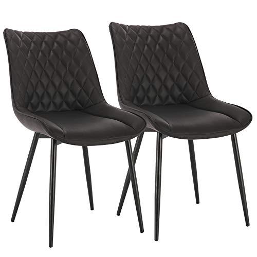 WOLTU® Esszimmerstühle BH210an-2 2er Set Küchenstuhl Polsterstuhl Wohnzimmerstuhl Sessel mit Rückenlehne, Sitzfläche aus Kunstleder, Metallbeine, Antiklederoptik, Anthrazit
