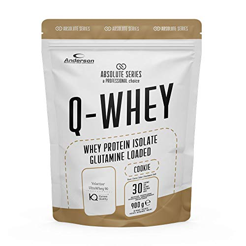 Proteine Whey isolate 90% con Glutammina e Vitamina B- Q-WHEY, 900 g per 30 dosi di Absolute Series. (Cookie)