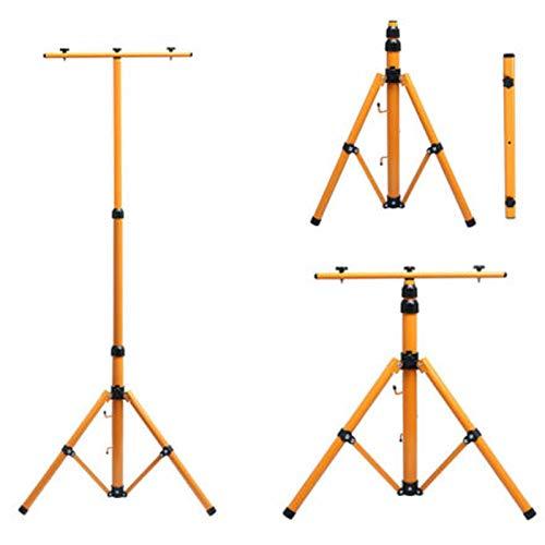 Autofather Teleskop Stativ für Baustrahler LED Halogen Strahler Fluter Scheinwerfer Gelb Stahlstativ Arbeitslampe 1 Stück, Kann 1 Licht oder 2 Lichter halten