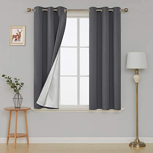 Deconovo Blackout Window Curtains Silver Curtains with Silver Backing for Kids Bedroom 42W x 63L Dark Grey 2 Panels