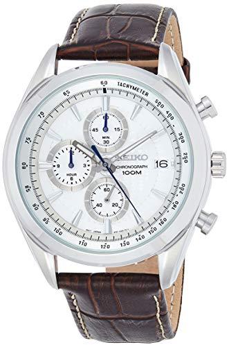 Seiko Orologio Cronografo al Quarzo Uomo con Cinturino in Pelle SSB181P1