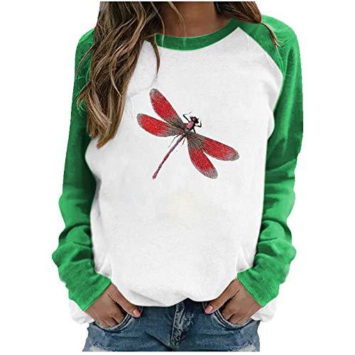 Masrin Mask Frauen Pullover Casual Dragonfly Print Sweatshirt O-Ausschnitt Raglan Langarm Color Block Patchwork Tops Blusen(XL,Grün)