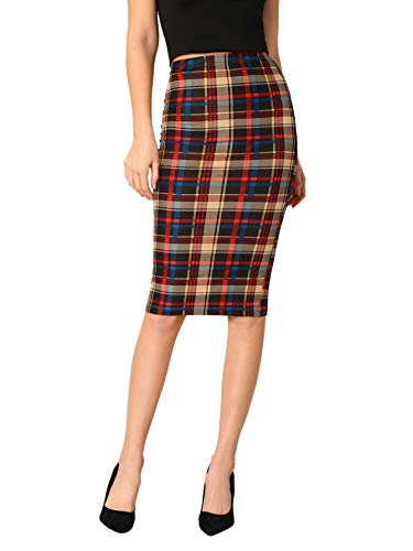 SheIn Women's Plaid Elastic Waist Stretch Bodycon Skirts Knee Length Pencil Skirt Small