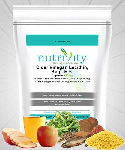 Cider Vinegar with Lecithin Vitamin B6 Kelp 650mg Softgel Weight Loss by Nutrivity (30)