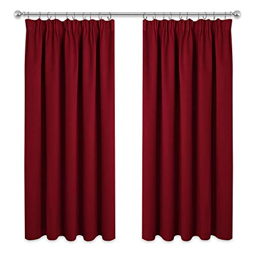 PONY DANCE Window Blackout Curtains - Decorative Blackout Curtain Drapes for Christmas Living Room Noise Reducing Window Treatment for Privacy Protected, 2 PCs, 66 in Width x 72 in Drop, Red