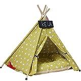 Reuvv Pet Teepee perro gatos conejos cama lona portátil Pet Tents Casas con cojín, Amarillo, 40cm×40cm×50cm