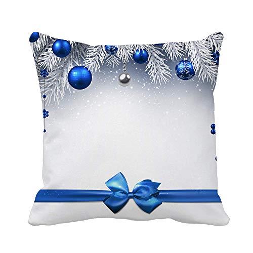 Throw Pillow Cover Cinta Plateada Año Nuevo Azul Bolas de Navidad y Lazo Funda de Almohada Gris Funda de Almohada Cuadrada Decorativa para el hogar Funda de cojín