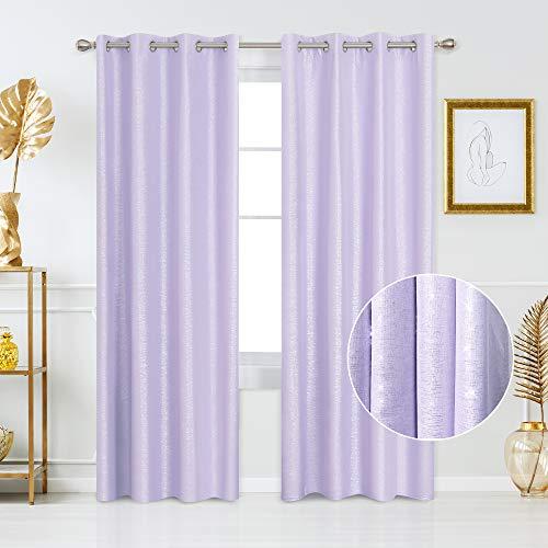 Deconovo Ösenvorhang Gardinen Oxford Vorhang Thermogardinen 260x140 cm Lavendel 2er Set