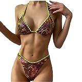 Mujer Traje de Baño Dvidido con Copa Triangular para Mujer Bañador de Dos Piezas Bikini Conjuntos Impresión Ropa de Playa