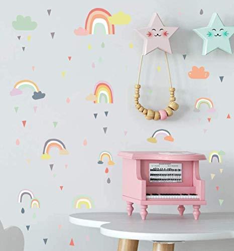 Adhesivo decorativo para pared, diseño de gotas de lluvia, arco iris de colores