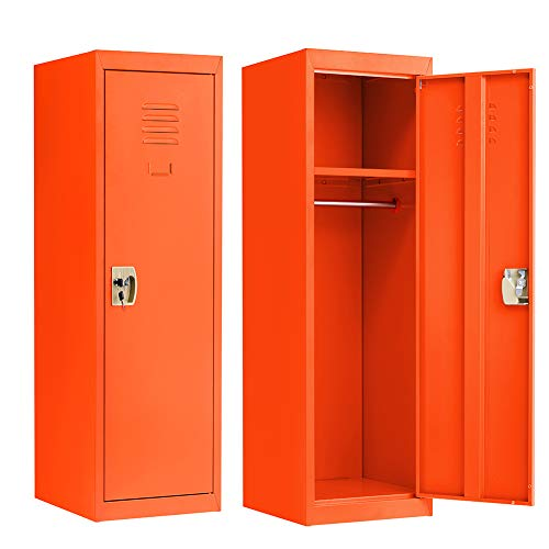 Kids Metal Storage Locker, Steel Storage Locker for Kids Room, Bedroom, Home, School, Locker Cabinet for Toys & Clothes (2 Keys Included, Orange)