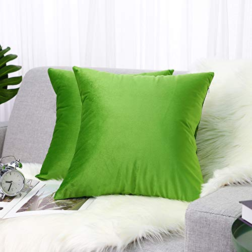 Lewondr Velvet Throw Pillow Case, 2 Pack Soft Solid Color Modern Square Pillow Case Throw Cushion Covers for Car...