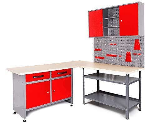 Ondis24 Werkstatt Set Ecklösung Basic One, Werkbank, Werkzeugschrank, Werkzeugwand Lochwand, Haken Set, Metall Bank (Arbeitshöhe 85 cm, rot)