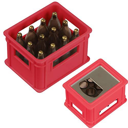 Flaschenöffner in der Form eines Bierkastens / Farbe: rot