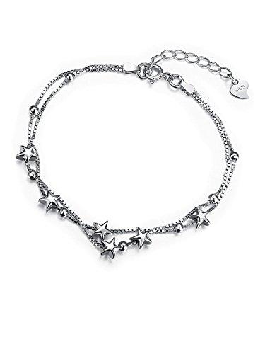 Borong, raffinato bracciale, con maglia a regolazione, adornata di stelle, in argento sterling 925. Gioiello dell'amicizia per donne e ragazze