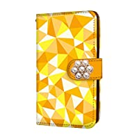 anve iPhone11 iPhone 11 国内生産 ミラー スマホケース 手帳型 Apple アップル アイフォン イレブン 【B.イエロー】 【花デコ】 幾何学模様 3D風 ポリゴン best_vc-720-deco_sp