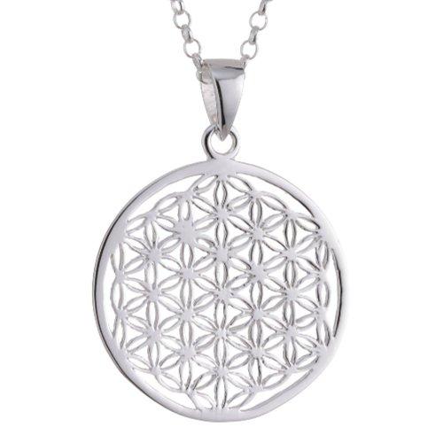 Vinani Anhänger Lebensblume Blume des Lebens Mandala klein mit Erbskette 45 cm Sterling Silber 925 Kette Italien ALB-T45