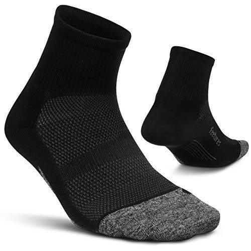 Feetures - Elite Ultra Light - Quarter - Calcetines deportivos para hombres y mujeres - Negro - Talla Grande