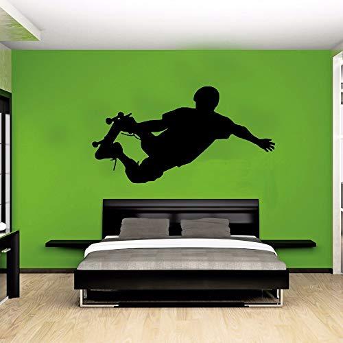 Wandtattoo Wohnzimmer Skateboardfahrer Silhouette Street Pop Sport Aufkleber Side Kick Schablone Kinder Kinder Schlafzimmer Dekor