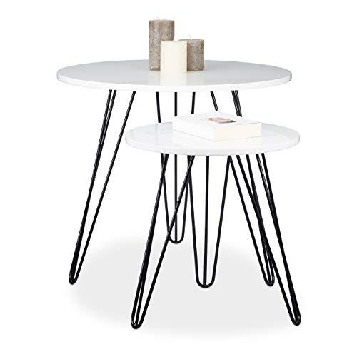 Relaxdays 10020342 Table d'appoint blanche ronde lot de 2 bois et métal brillant laqué 3 pieds stable bout canapé gigognes HxD: 52 x 60 cm, blanc