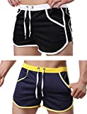 Rexcyril Men's Running Workout Bodybuilding Gym Shorts Athletic Sports Casual Short Pants Medium 2-Pack