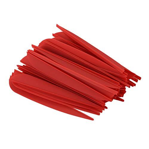 TOOGOO Flechas Paletas 4 Pulgadas Cola De Flecha De Pluma De Plástico para DIY Flechas De Tiro con Arco Paquete De 50 (Rojo)