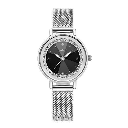 XueXw Relojes De Mujer Tendencias De La Moda Diamantes De Moda Relojes De Cuarzo Niñas Relojes Cinturón De Malla Relojes Regalos De Cumpleaños,A