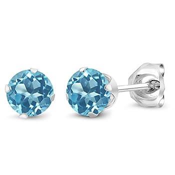 Gem Stone King 925 Sterling Silver Swiss Blue Topaz Stud Earrings 0.66 Ctw Round Gemstone Birthstone 4MM