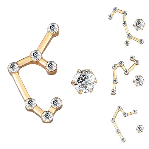 SONGAI Charm Creative 12 Constellation Asymmetry Rhinestone Stud Earrings Women Jewelry,Colour Name:Libra Bracelets Earrings Rings Necklaces (Color : Pisces)