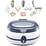 Ultrasonic Cleaning Machine 600ML 40Khz Jewellery Cleaner Ultrasonic with Stainless Steel Liner 360° Cleaning Scheduled Appointment Sonic Cleaner for Cleaning Jewelry, Wall Coins, Glasses,Gray