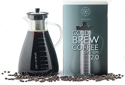 Zen Brews 2.0 Extra Large Cold Brew Coffee System | Elegant 2 Liter (68oz) Glass Carafe with Super Fine Stainless Steel Filter Basket | Make Cold Brew Coffee at Home | 40 Recipe e-book