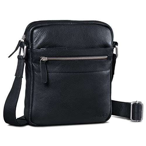 ROYALZ Umhängetasche Leder Herren Klein Vintage Design Seitentasche Männer Schultertasche Ledertasche zum Umhängen, Farbe:Schwarz