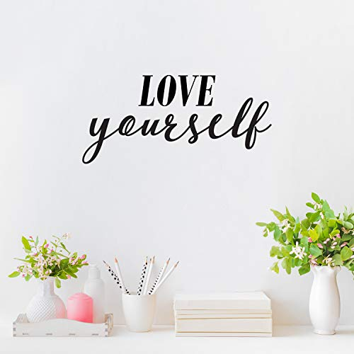 Vinyl Wall Art Decal - Love Yourself - 11' x 23' - Inspirational Workplace Bedroom Apartment Decor Decals - Positive Modern Indoor Outdoor Home Living Room Office Life Quotes