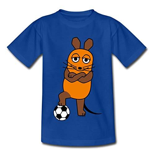 Sendung Mit Der Maus Mit Fußball Kinder T-Shirt, 98-104, Royalblau
