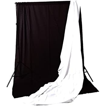 Cowboystudio Photography Black and White 9ft x 15ft Muslin Backdrops with Support System and Carry Bag
