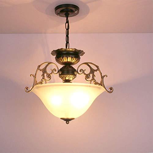 Retro dimbare hanglamp antiek rond design binnen slaapkamer eettafel plafondlamp 3 vlammen woonkamer eetkamer hal kroonluchter wit glas lampenkap E27 fitting flitslicht; 38 cm hoogte Ad