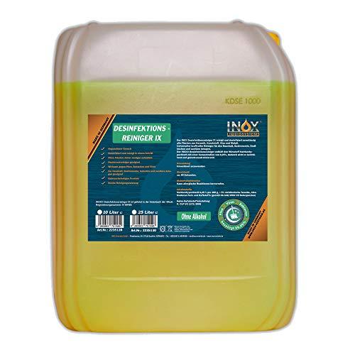 INOX® Desinfektionsreiniger, 10L - Hygiene Reiniger Desinfektionsmittel Oberflächen und Geräte für Toilette, Bad, Fitnessstudio & Solarium