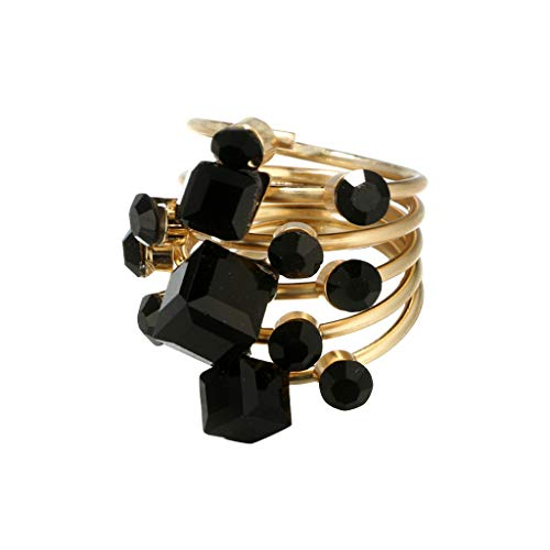 UKtrade Anillo de cristal geométrico vintage negro para mujer, gran accesorio regalo de cumpleaños