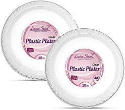 [80 Count - 10 Inch Plates] Laura Stein Premium Heavy Weight Crystal Clear Disposable Plastic Dinner Size Plate, Great For Wedding, Event, Parties, Catering, Buffets, 2 Packs