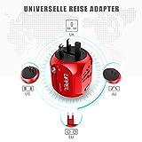 Milool Reiseadapter mit QC3.0 Technologie Weltreiseadapter Typ C+ 2 USB (US/EU/UK/AU) 30W All-In-One Reiseladegerät geeignet für über 150 Länder(Rot) - 2