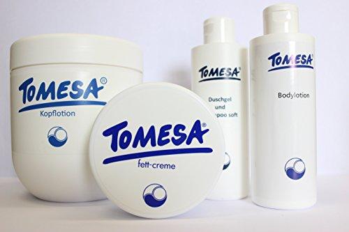 TOMESA Set: Kopflotion, Fett-Creme, Duschgel & Bodylotion