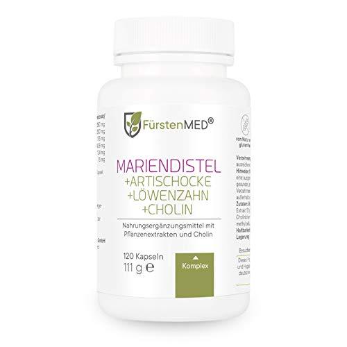 FürstenMED® Mariendistel Artischocke Löwenzahn & Cholin - Leber Komplex Hochdosiert mit 80% Silymarin - 120...