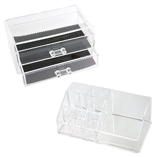 OULII Acrylic Cosmetics Storage Organizer 2-Layer Drawer Clear Makeup Jewelry Box Case with One Display Rack