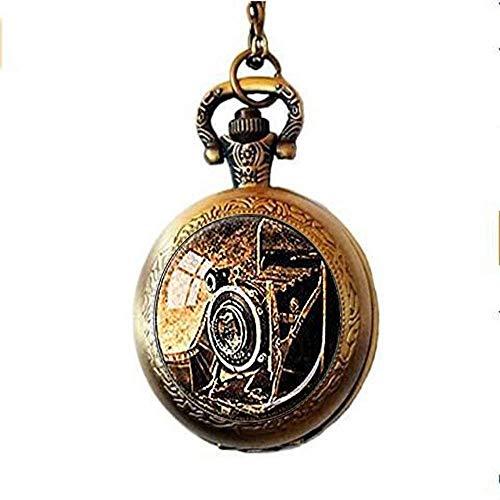 DZX Reloj de Bolsillo de Estilo Antiguo, Collar de Reloj de Bolsillo con cámara Antigua, cámara de Fuelle de fotógrafo