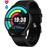 Smart Watch Waterproof IP68 Fitness Tracker Smartwatch with Heart Rate Monitor for Android Phones...